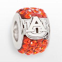LogoArt Auburn Tigers Sterling Silver Crystal Logo Bead - Made with Swarovski Crystals