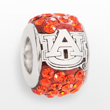 LogoArt Auburn Tigers Sterling Silver Crystal Logo Bead - Made with Swarovski Crystals