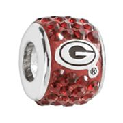 LogoArt Georgia Bulldogs Sterling Silver Crystal Logo Bead - Made with Swarovski Elements