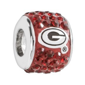 LogoArt Georgia Bulldogs Sterling Silver Crystal Logo Bead - Made with Swarovski Crystals