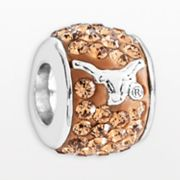 LogoArt Texas Longhorns Sterling Silver Crystal Logo Bead - Made with Swarovski Elements