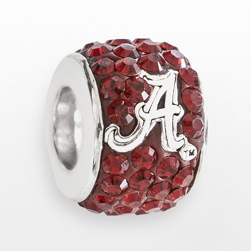 LogoArt Alabama Crimson Tide Sterling Silver Crystal Logo Bead - Made with Swarovski Crystals