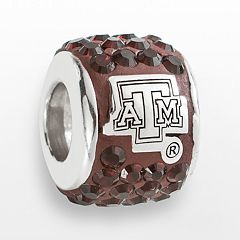 LogoArt Texas A&M Aggies Sterling Silver Crystal Logo Bead - Made with Swarovski Crystals