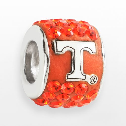 LogoArt Tennessee Volunteers Sterling Silver Crystal Logo Bead - Made with Swarovski Crystals