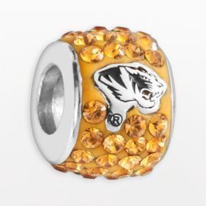 LogoArt Missouri Tigers Sterling Silver Crystal Logo Bead - Made with Swarovski Crystals