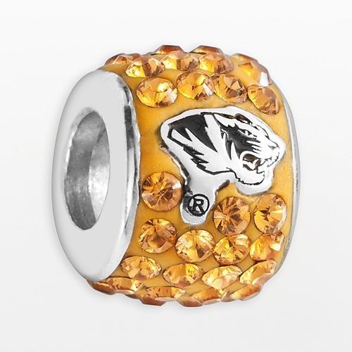 LogoArt Missouri Tigers Sterling Silver Crystal Logo Bead - Made with Swarovski Crystals