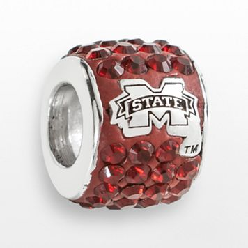 LogoArt Mississippi State Bulldogs Sterling Silver Crystal Logo Bead - Made with Swarovski Crystals