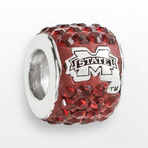 LogoArt Mississippi State Bulldogs Sterling Silver Crystal Logo Bead - Made with Swarovski Eleme
