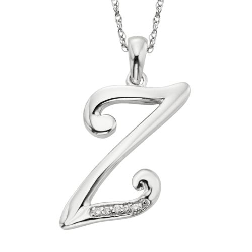 Sterling Silver Diamond Accent Initial Pendant