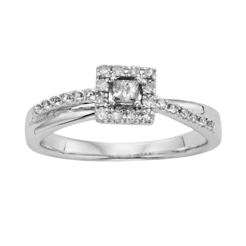 I Promise You Princess-Cut Diamond Twist Engagement Ring in Platinaire (1/4 ct. T.W.)