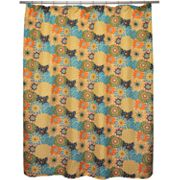 Waverly Button Blooms Confetti Fabric Shower Curtain