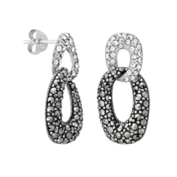 Sterling Silver Simulated Crystal and Marcasite Drop Earrings