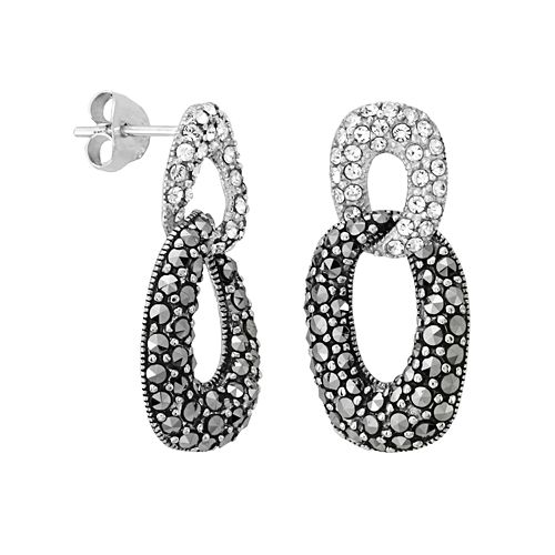 Sterling Silver Simulated Crystal & Marcasite Drop Earrings