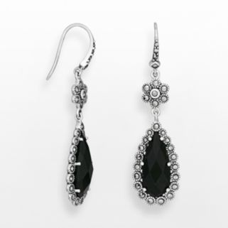 Sterling Silver Black Agate and Marcasite Teardrop Earrings