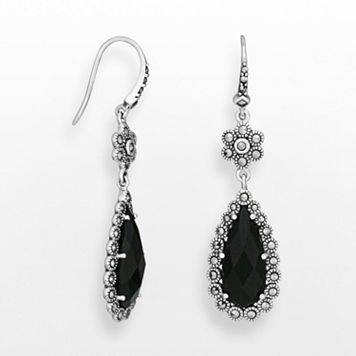 Sterling Silver Black Agate & Marcasite Teardrop Earrings