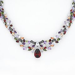 Sterling Silver Cubic Zirconia & Marcasite Collar Necklace