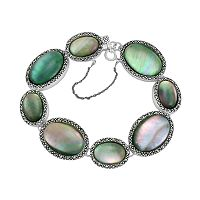 Sterling Silver Shell & Marcasite Oval Link Bracelet