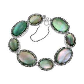 Sterling Silver Shell and Marcasite Oval Link Bracelet