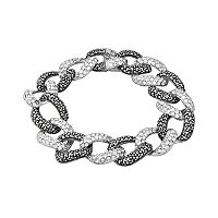 Sterling Silver Marcasite & Simulated Crystal Oval Link Bracelet