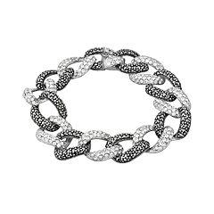 Sterling Silver Marcasite & Simulated Crystal Oval Link Bracelet