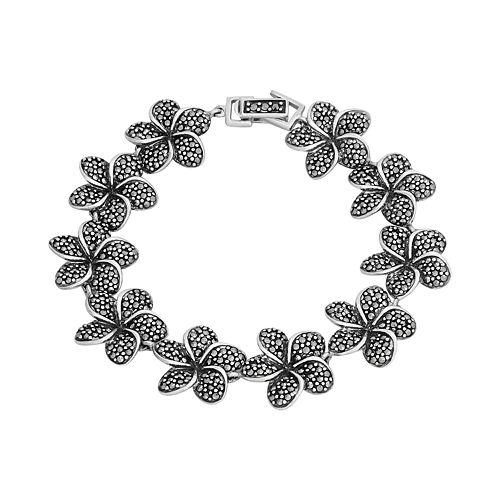 Sterling Silver Marcasite Flower Bracelet