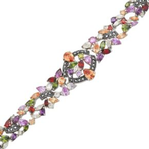 Sterling Silver Cubic Zirconia and Marcasite Bracelet