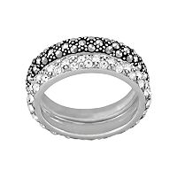 Sterling Silver Simulated Crystal & Marcasite Ring Set