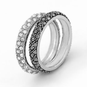 Sterling Silver Simulated Crystal and Marcasite Ring Set
