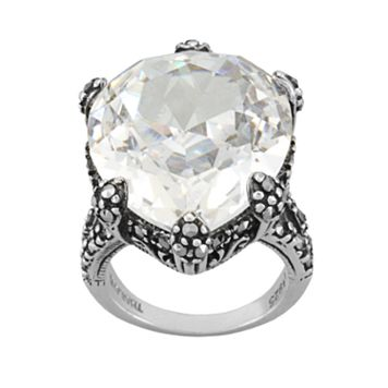 Sterling Silver Cubic Zirconia & Marcasite Ring