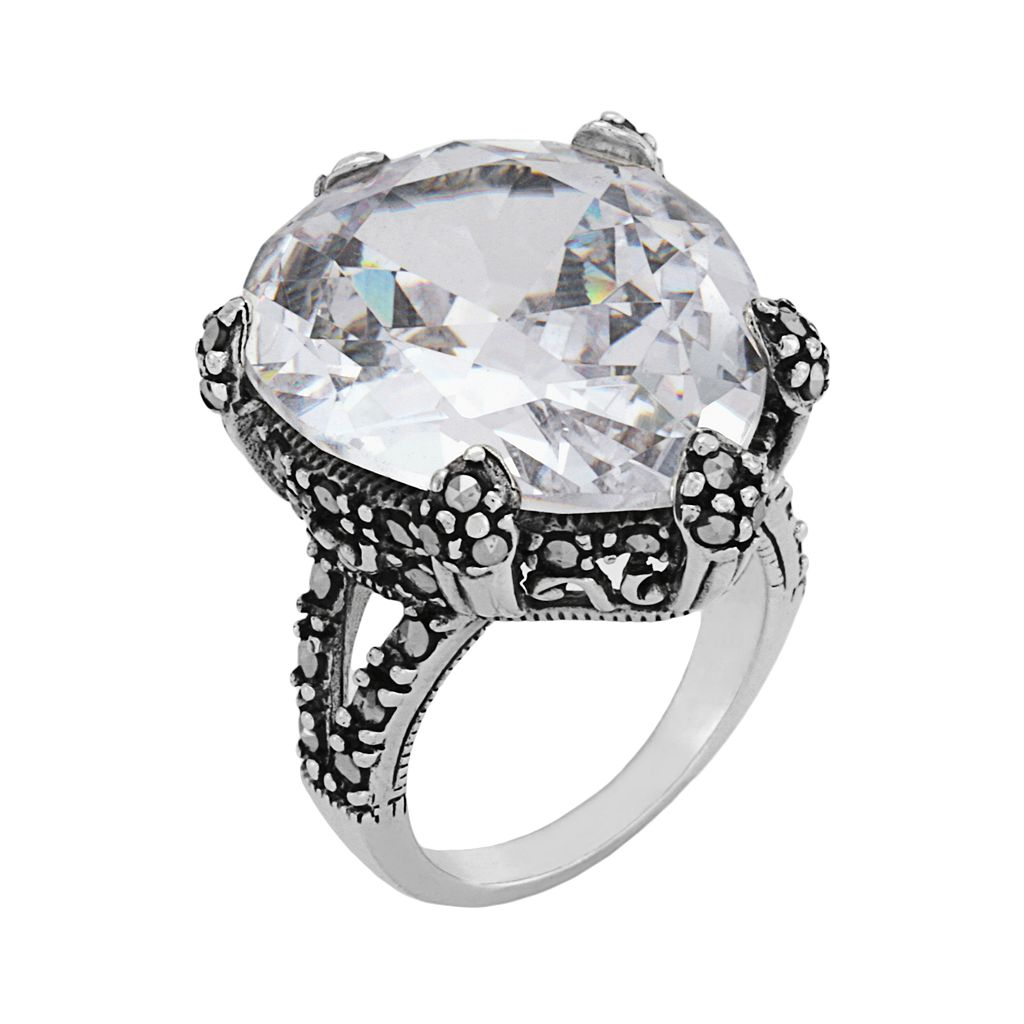 Sterling Silver Cubic Zirconia and Marcasite Ring