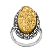 Sterling Silver Golden Drusy & Marcasite Ring