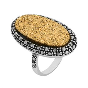 Sterling Silver Golden Drusy and Marcasite Ring