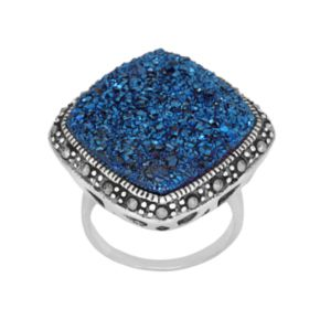 Sterling Silver Blue Drusy and Marcasite Ring