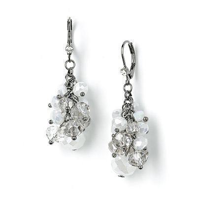 Simply Vera Vera Wang Jet Simulated Crystal and Bead Cluster Drop Earrings