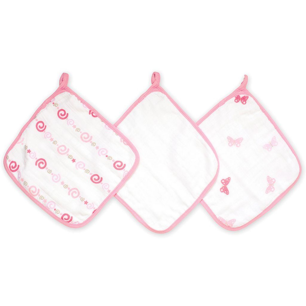 aden + anais 3-pk. Girls 'N Swirls Muslin Wash Cloths