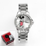 Disney Mickey Mouse Silver Tone Simulated Crystal Watch - Women