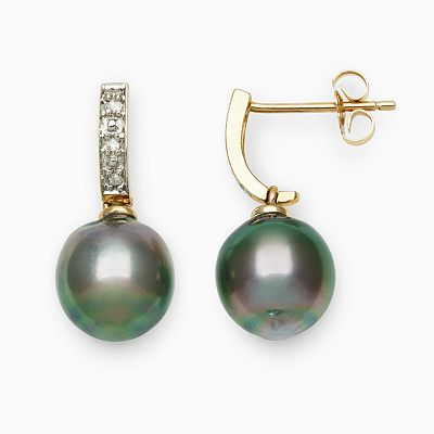 14k Gold Tahitian Cultured Pearl and Diamond Accent Drop Earrings