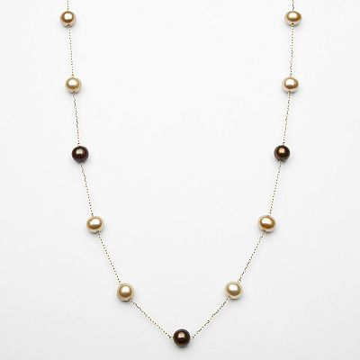 14k Gold Dyed Freshwater Cultured Pearl Station Necklace
