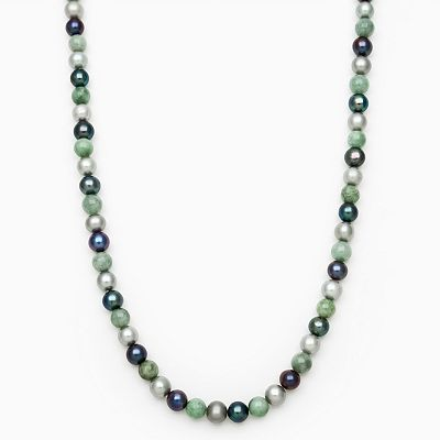 Dyed Freshwater Cultured Pearl and Jade Convertible Necklace