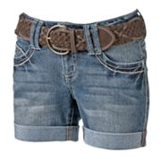 Wallflower Cuffed Midi Denim Shorts - Juniors