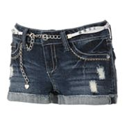 Wallflower Distressed Denim Cuffed Shortie Shorts - Juniors