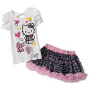 Hello Kitty Poodle Tee and Zebra Scooter Set - Girls 4-7