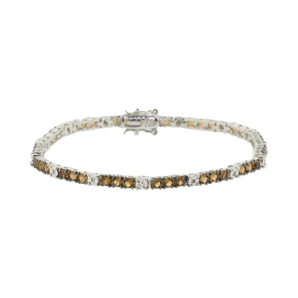 Sterling Silver Brown & White Crystal Tennis Bracelet