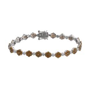 Sterling Silver Brown and White Crystal Flower Link Bracelet