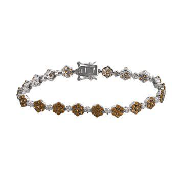 Sterling Silver Brown & White Crystal Flower Link Bracelet