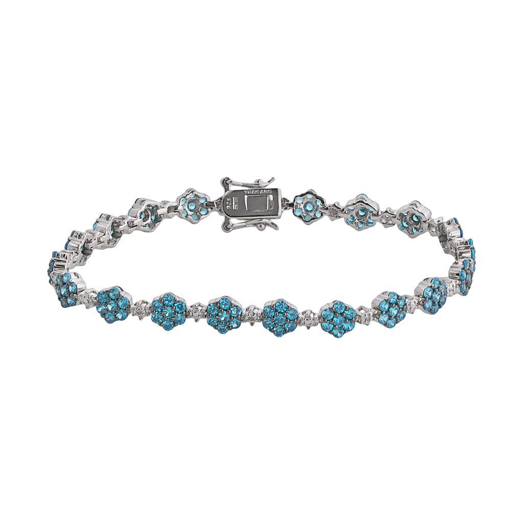 Sterling Silver Blue & White Crystal Flower Link Bracelet