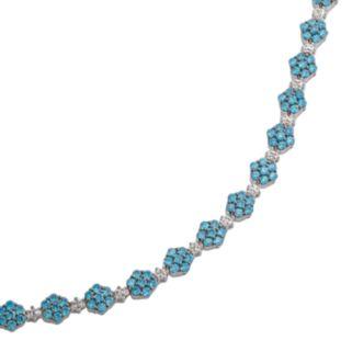 Sterling Silver Blue and White Crystal Flower Link Bracelet