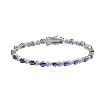 Sterling Silver Lab-Created Blue & White Sapphire Tennis Bracelet