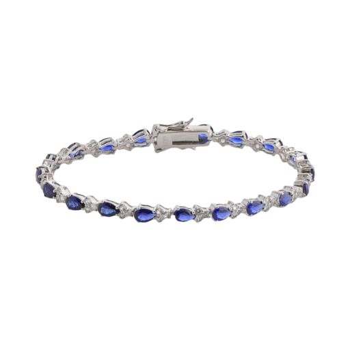 Sterling Silver Lab-Created Blue and White Sapphire Tennis Bracelet
