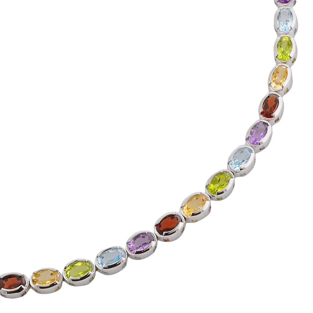 Sterling Silver Gemstone Tennis Bracelet
